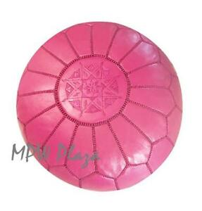 MPW Plaza Pouf, Fuchsia, Moroccan Leather Ottoman (Un-Stuffed)