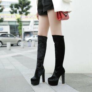 Womens Velvet Knee High Riding Boots Round Toe Block Heels Platform Stilettos SZ