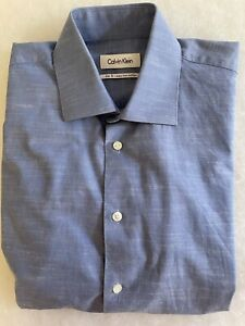 CALVIN KLEIN SLIM FIT Easy Iron Blue Men's Cotton Long Sleeve Shirt - 40 -86
