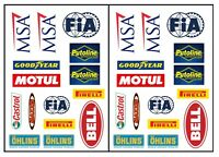 New Racing Sticker Sheet Sticker Bomb Putoline Bell Motul Castrol FIA Ohlins A4