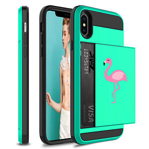 For Apple iPhone Shockproof Wallet Credit Card Case Cover Pink Flamingo Color