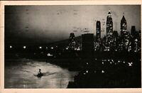 Brooklyn Bridge & Lower Manhattan at night vintage RP postcard-1940 *Free Ship*