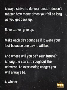 Never Give Up Poster Inspirational Words Wall Art Decor Print (18x24)