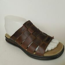 Timberland Brown Leather Fisherman Slides Sandals Womens sz 6.5 Med Preowned