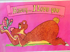 Honey I love you vintage poster Arambula 1971 Hole in the Wall Bear Butterfly