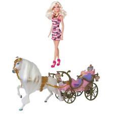 Mattel Barbie Puppe Weiß Blond PINKE Schuhe + Prinzessinnen Kutsche Pferd Licht