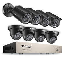 ZOSI 8CH 1080N DVR 1.0MP Outdoor 3.6mm P2P Free APP CCTV Security Camera System