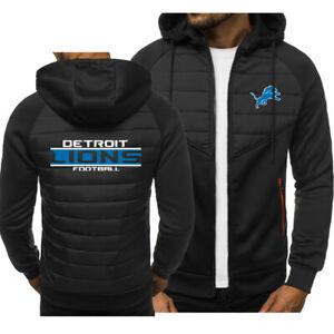 Detroit Lions Men Hoodie Classic Autumn Hooded Sweatshirt Jacket Coat Top Tops