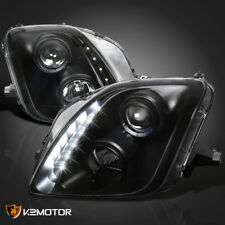 Fits 1997-2001 Honda Prelude LED DRL Strip Projector Headlights Black Left+Right