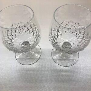 Pair (2) Cut Glass Brandy / Cognac Glasses