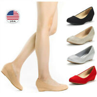 Women's Slip On Pump Shoes Wedge Heel Round Toe Comfort Pump Dress Shoes