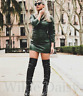 ZARA NEW DARK GREEN MINIFAUX LEATHER DRESS DRAPED HIGH NECK SHORT SIZE XS-XXL