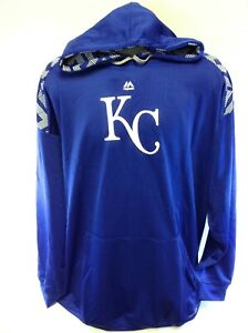 Mens Majestic Therma Base Kansas City KC Royals MLB Pullover Baseball Hoodie