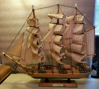 "Vintage Wood Sail Ship 3 Mast Cutty Sark Replica 16.5"" Tall 18"" Long Cloth Sails"