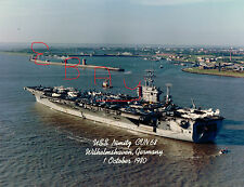 1980 16X20 COLOR PHOTO OF THE U.S.S. NIMITZ CVN-68 IN WILHELMSHAVEN GERMANY PORT