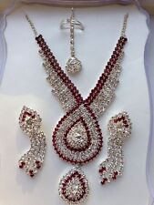 Set Necklace earrings tikka ring 4 pcs beautiful crystal & red rubies immitation