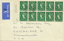 2414 1952 QEII Wilding 1 ½ D block of 10 extremely rare multiple postage FDC USA