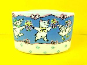 Farmhouse Country Milk Glass Dancing Animals Bunny, Lamb Goose Toothbrush Holder
