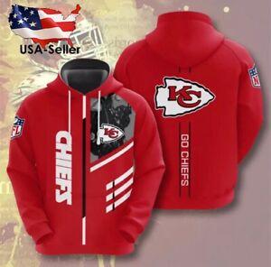 Kansas City Chiefs Long Sleeve Pullover Hoodies NFL Jersey Shirt Windbreaker
