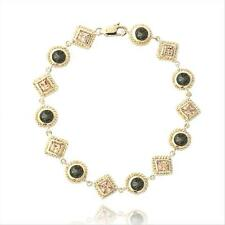 Gold over Sterling Silver 5ct Chocolate & Champagne CZ Geometric Link Bracelet