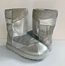 UGG CLASSIC SHORT GLITTER PATCHWORK SILVER SHEARLING BOOT US 7 / EU 38 / UK 5