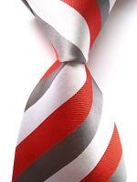 New Classic Striped Red Gray White JACQUARD WOVEN 100% Silk Men's Tie Necktie