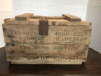 "VINTAGE MILITARY 81 MM MORTAR AMMO BOX WOOD APP. 18""X10 X11"" Korean War 1952"