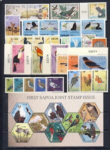 Bird on stamp collection om two pages mnh vf, lots of beautiful birds
