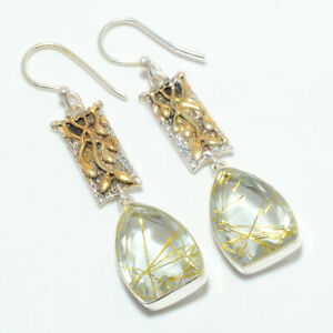 """Golden Rutilated Quartz 925 Sterling Silver Two Tone Gold Plated Earring 2.11"""""""