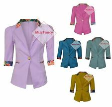 Womens Floral Trim Blazer Pastel Blazers One Button Short Jacket Cardigan