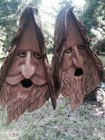 2 Wood Spirit rustic Hand Carved Cedar Bird House Birdhouses With Hair