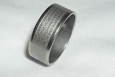 English Lords Prayer Bible Ring religious band 8mm wide SILVER 316 ss Size UK N