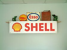 Shell oil workshop or garage vintage style advertising banner,sign