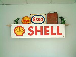 Shell oil BANNER Workshop Garage Vintage style pvc Retro Advertising sign
