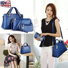 3PCS Women Leather Shoulder Bags Tote Purse Handbag Messenger Crossbody Satchel