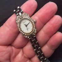 Vintage Silver Tone POLINI Rhinestone Ladies Women's Quartz Watch Works