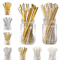 JI_ 25Pcs Disposable Biodegradable Paper Drinking Straws Birthday Party Supply