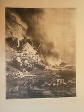 Planche gravure Radoub d'une barque à marée Par Louis Gabriel Eugéne Isabey