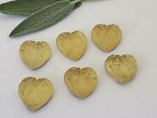 (6) 1930'S VTG GLASS Yellow Gold Foil Hearts LEAVES Cabochons Cabs JEWELRY CZECH