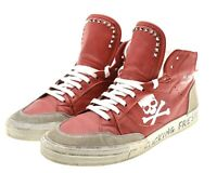 Philipp Plein Hi-Top Sneakers Red Leather Size 10