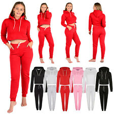 Womens Ladies Plain Cropped Hooded Tracksuit Set Top Bottom Trouser Hoodies XS-L