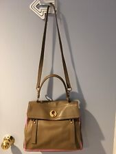 Yves Saint Laurent YSL Muse Two 2 Beige Brown Khaki Pink Shoulder Strap Handbag