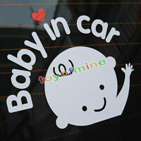 """""""Baby In Car"""" Waving Baby on Board Safety Sign Cute Car Decal Vinyl Sticker mc"""
