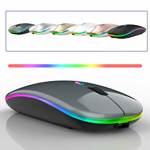 Slim Rechargeable USB Wireless Bluetooth RGB Mouse for Tablet PC Andoid iPad UK