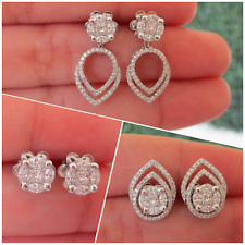 .66 CTW Diamond 3-Way Earrings 14k White Gold E286 sep
