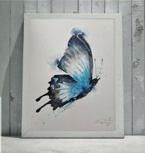 Large new Elle Smith original signed watercolour art painting of a Butterfly
