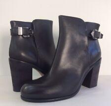 New AGL Attilio Giusti Leombruni Lindsey Block Heel Leather Ankle Boots Black 41