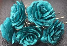 6 Bridal Wedding dark Teal Rose Flower Hair Pins Clips Grips handmade