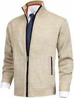 MACHLAB Men's Casual Cardigan Sweaters Slim Fit Fleece Full Zip Thick Knitted Ca
