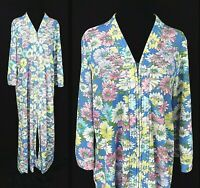 1970s Floral House Coat Vintage Zip Front Robe Pink Yellow Blue Daisies